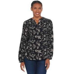 Stretch Crepe Y-Neck Button Front Shirt #1791